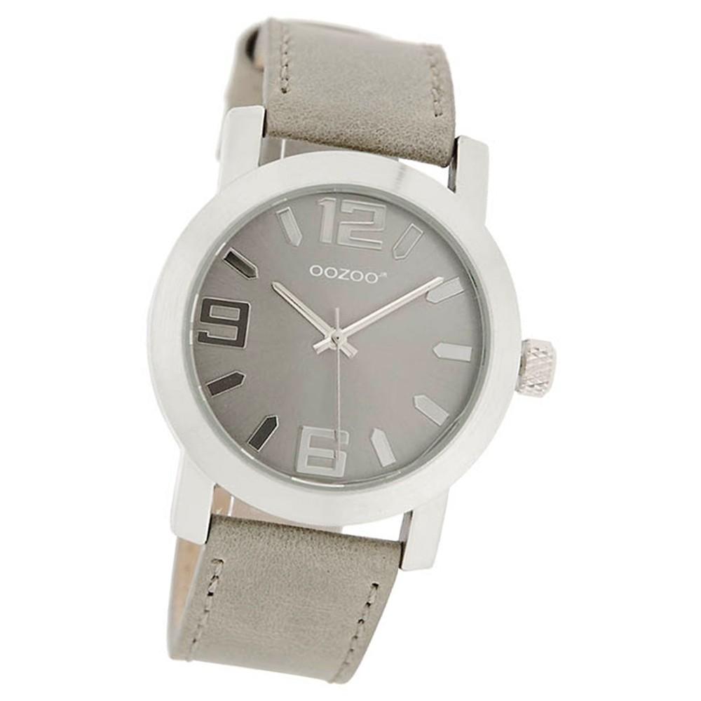 OOZOO Jugenduhr grau/silber 38mm, Uhr mit Leder-Armband UOJR202