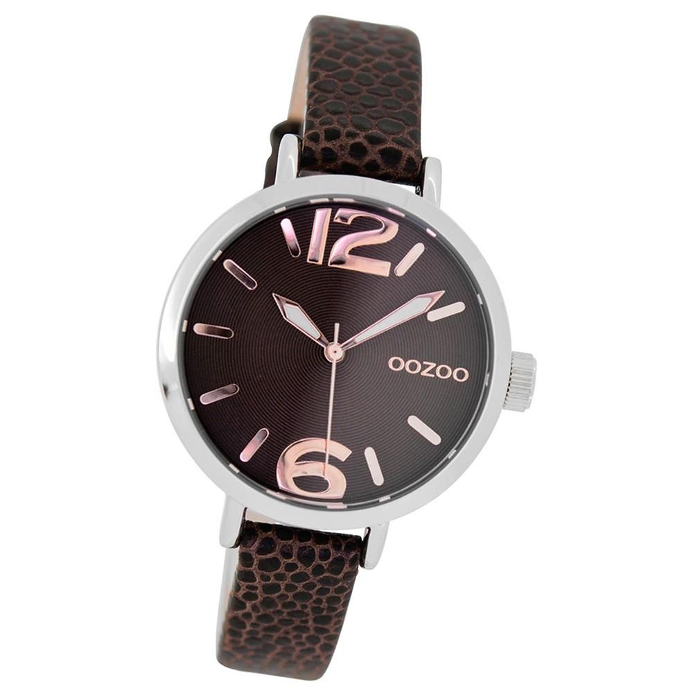 Oozoo Kinder Jugend-Uhr Junior Quarzuhr Leder-Armband braun UOJR273
