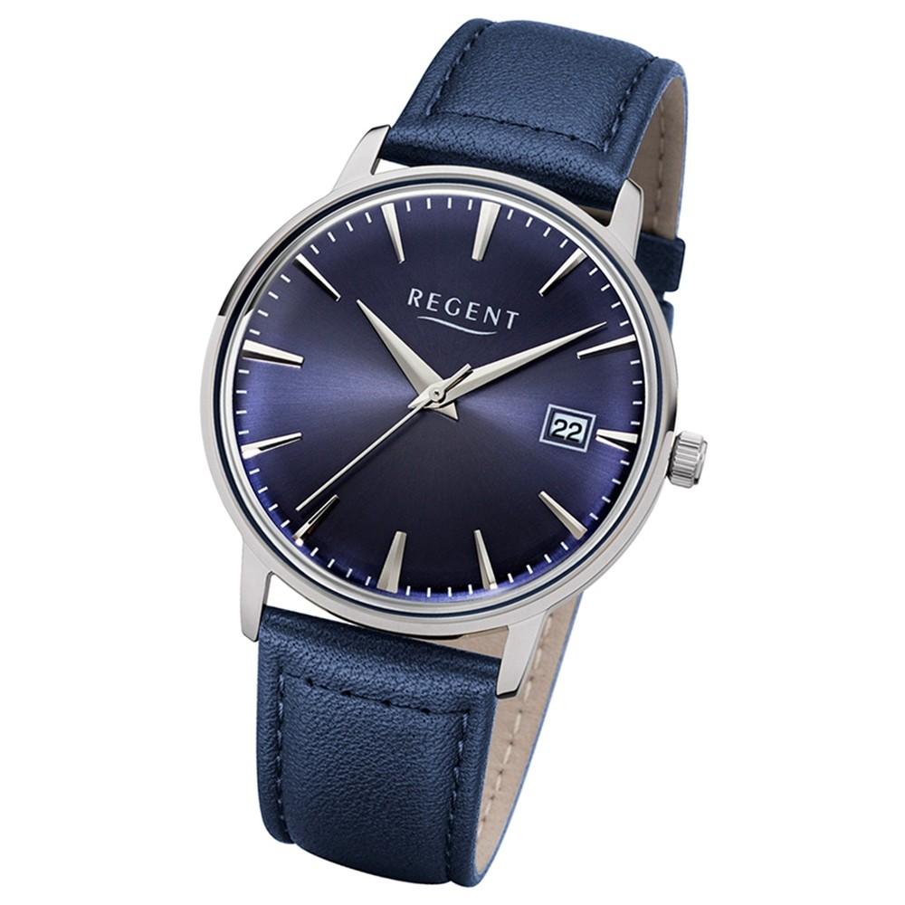 Regent Herren, Damen-Armbanduhr 32-1112490 Quarz-Uhr Leder dunkelblau UR1112490