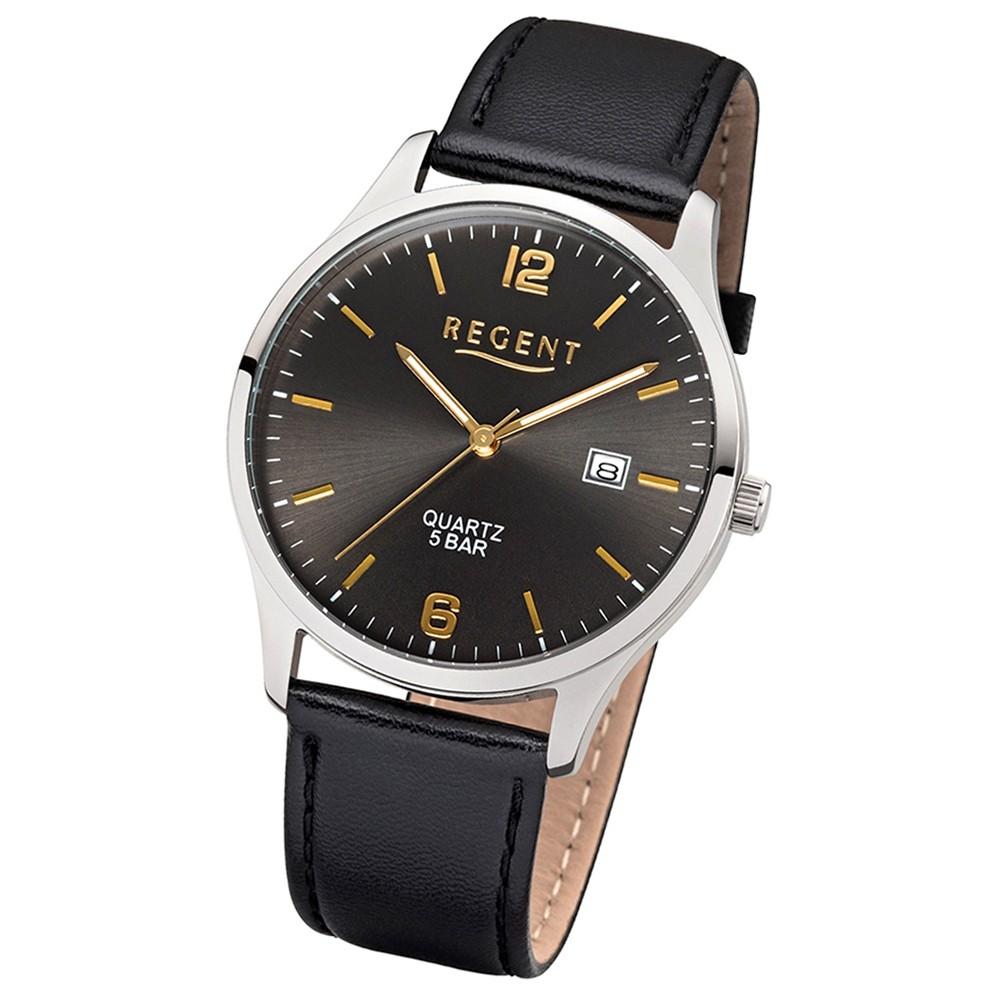 Regent Herren-Armbanduhr 32-1113407 Quarz-Uhr Leder-Armband schwarz UR1113407