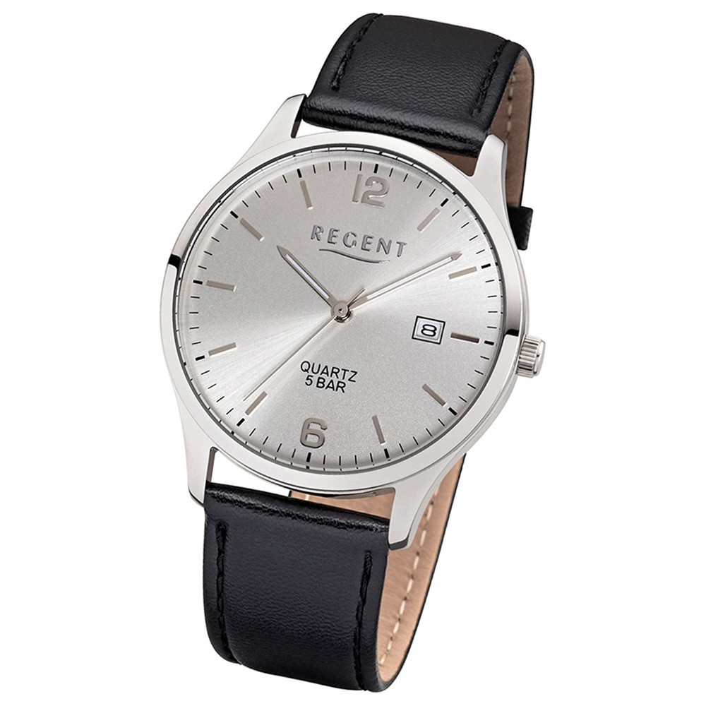 Regent Herren-Armbanduhr 32-1113408 Quarz-Uhr Leder-Armband schwarz UR1113408