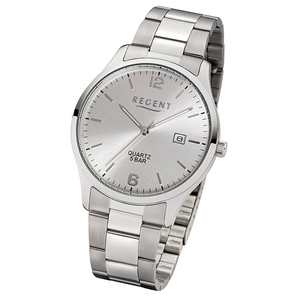 Regent Herren-Armbanduhr 32-1153404 Quarz-Uhr Edelstahl-Armband silber UR1153404