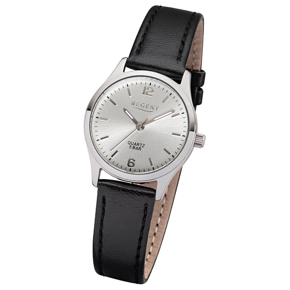 Regent Damen-Armbanduhr 32-2113415 Quarz-Uhr Leder-Armband schwarz UR2113415