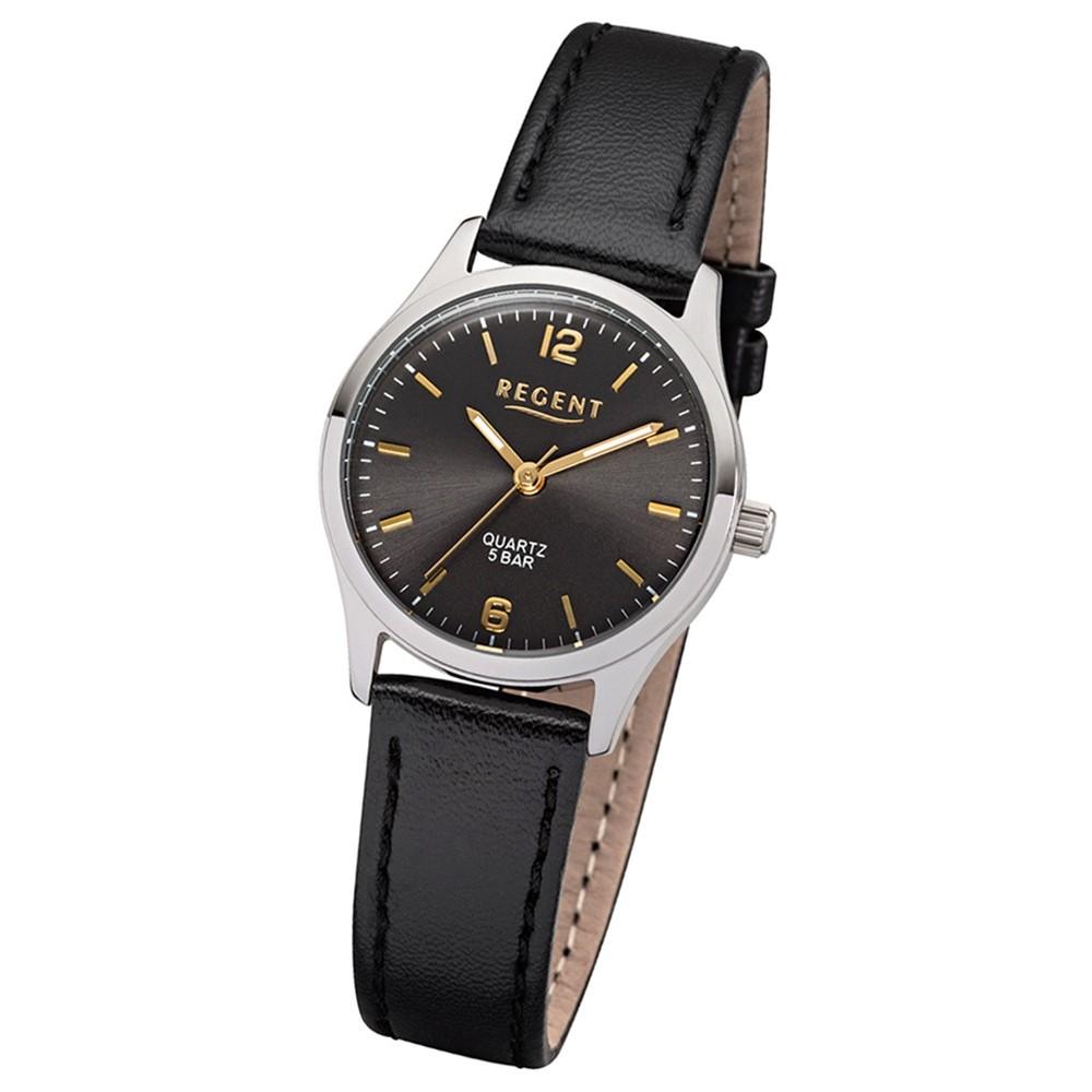 Regent Damen-Armbanduhr 32-2113417 Quarz-Uhr Leder-Armband schwarz UR2113417