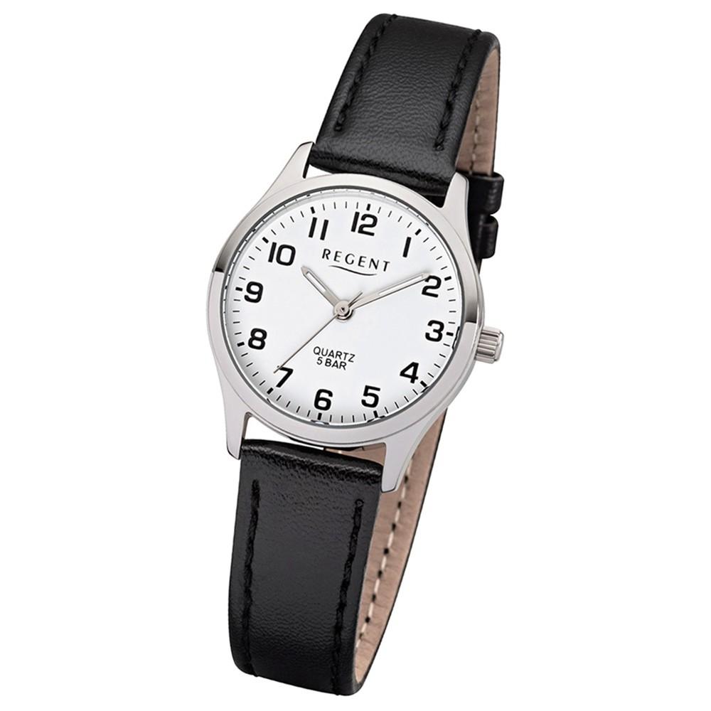 Regent Damen-Armbanduhr 32-2113418 Quarz-Uhr Leder-Armband schwarz UR2113418