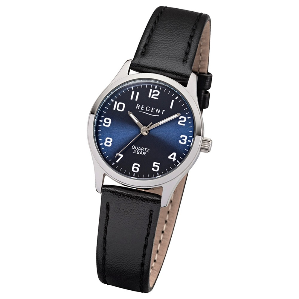 Regent Damen-Armbanduhr 32-2113419 Quarz-Uhr Leder-Armband schwarz UR2113419