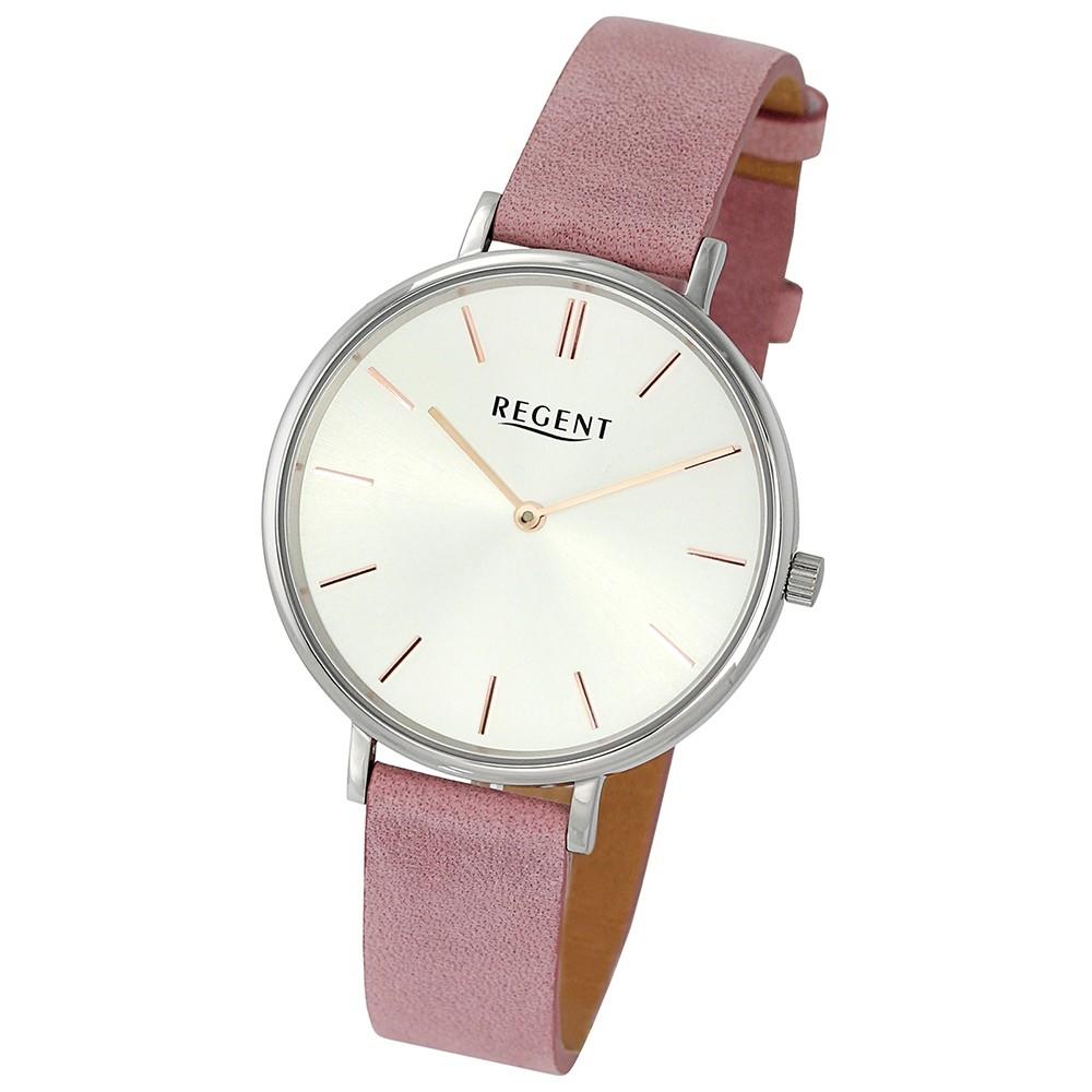 Regent Damen-Armbanduhr 32-2153132 Quarz-Uhr Leder pink rosa Uhr UR2153132