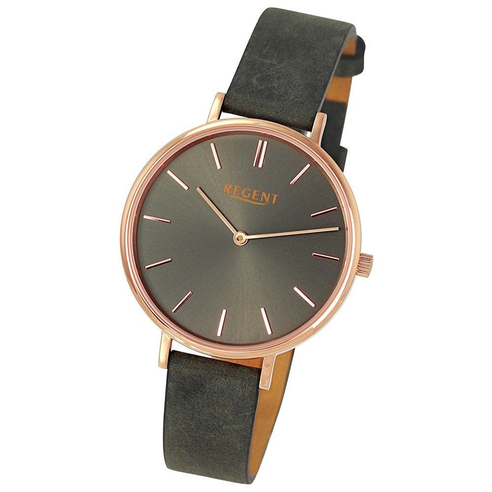 Regent Damen-Armbanduhr 32-2153133 Quarz-Uhr Leder dunkelgrau Uhr UR2153133
