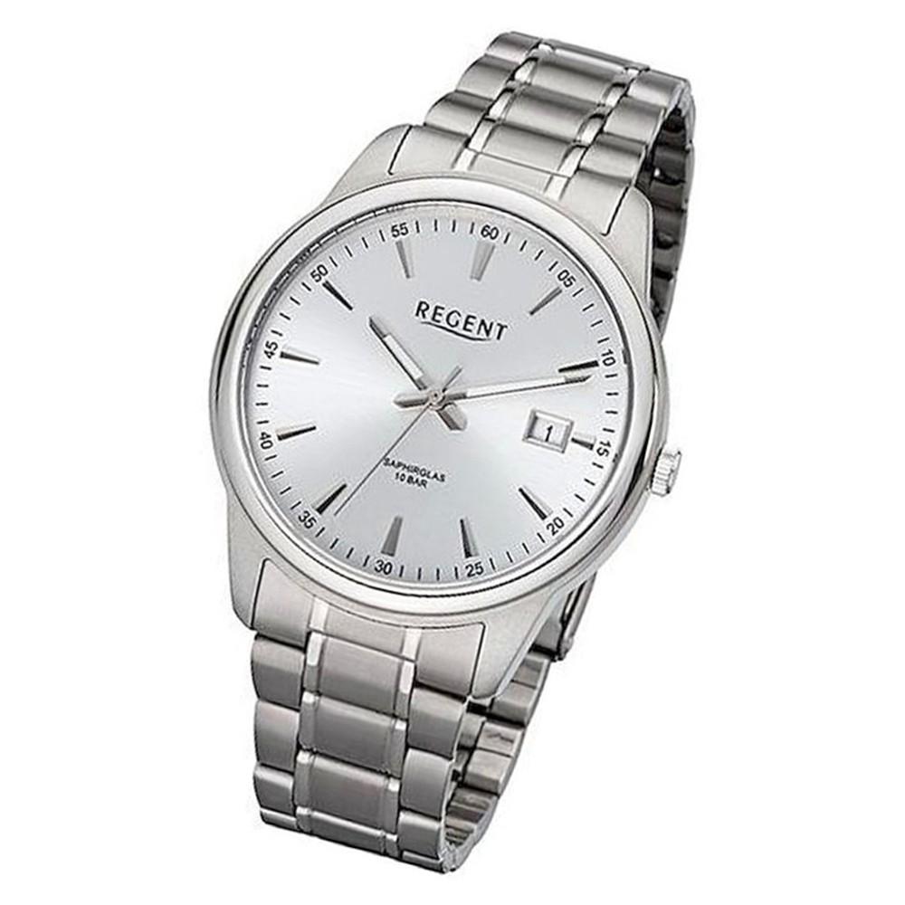 Regent Herren Armbanduhr Analog BA-322 Quarz-Uhr Metall silber URBA322