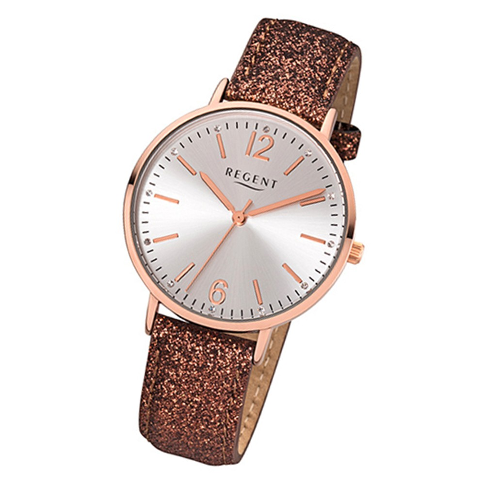 Regent Damen-Armbanduhr BA-364 Quarz-Uhr Leder-Armband braun URBA364