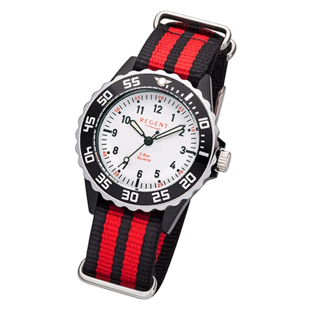 Regent Kinder-Armbanduhr BA-384 Quarz-Uhr Textil-Armband rot schwarz URBA384