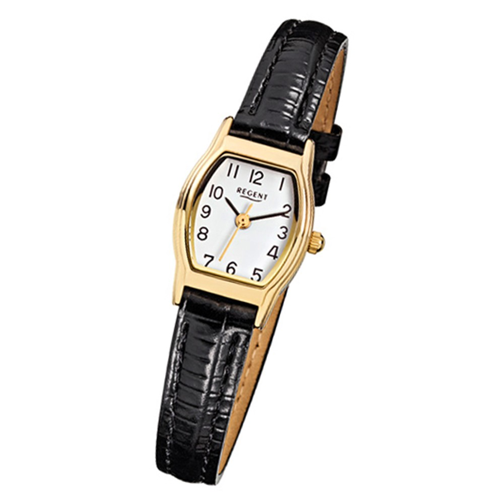 Regent Damen-Armbanduhr Mineralglas Quarz Leder schwarz Uhr URF022
