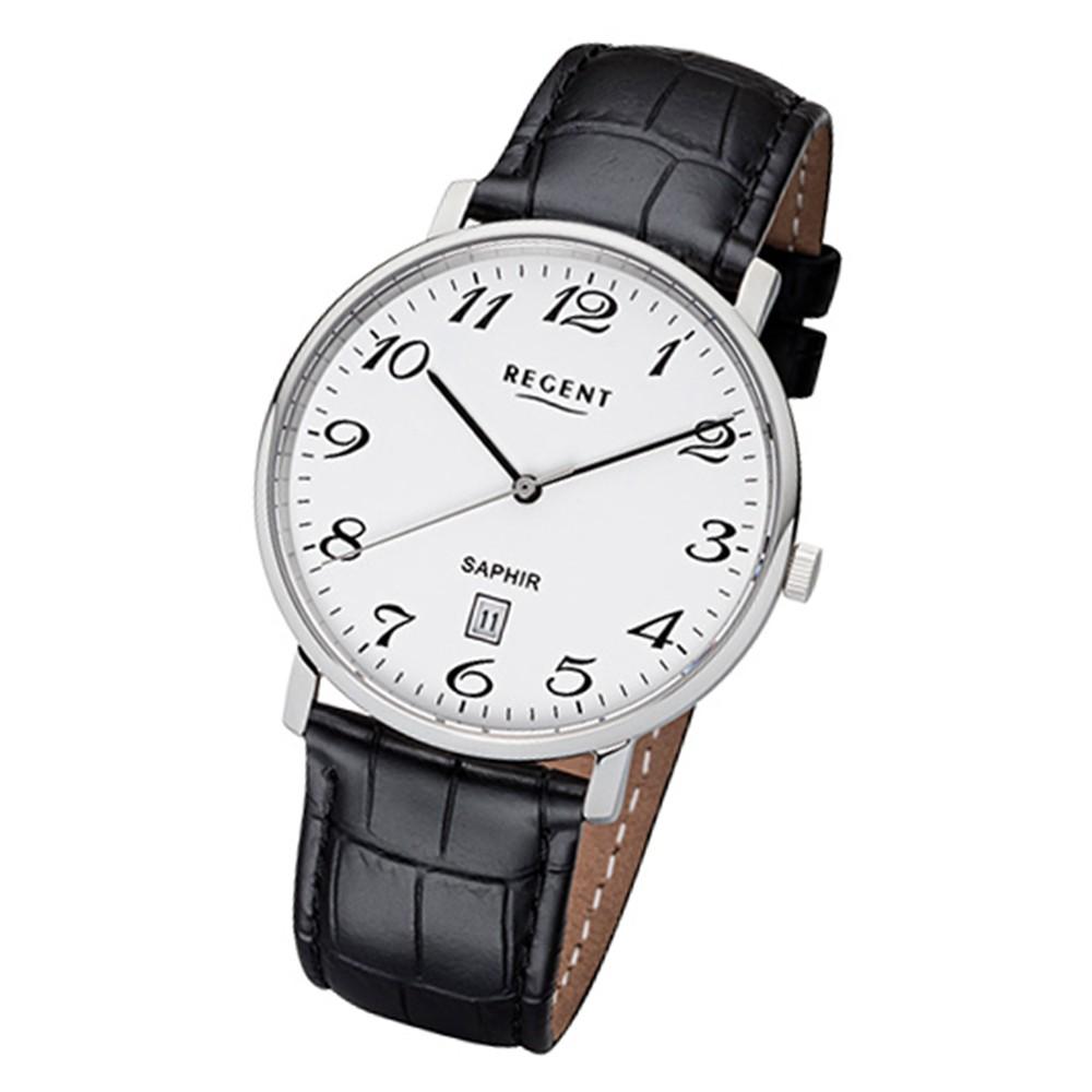 Regent Herren-Armbanduhr 32-F-1001 Quarz-Uhr Leder-Armband schwarz URF1001