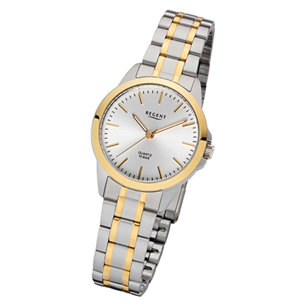 Regent Damen-Armbanduhr 32-F-1005 Quarz-Uhr Edelstahl-Armband silber gold URF1005