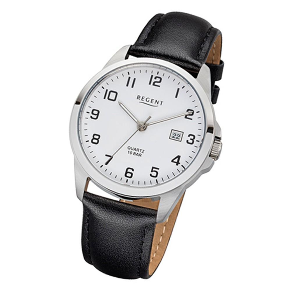 Regent Herren-Armbanduhr 32-F-1007 Quarz-Uhr Leder-Armband schwarz URF1007