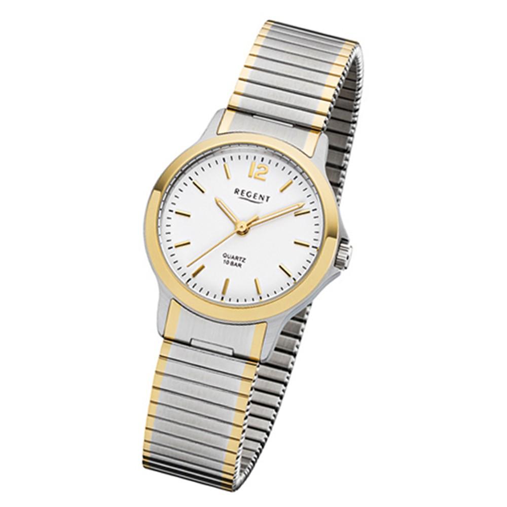 Regent Damen-Armbanduhr 32-F-1019 Quarz-Uhr Edelstahl-Armband silber gold URF101 URF1019