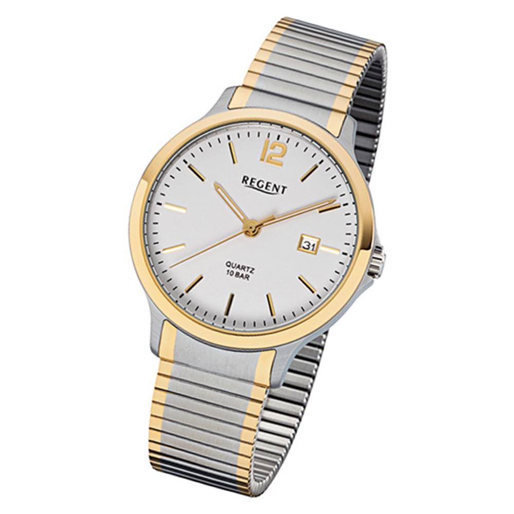 Regent Herren-Armbanduhr 32-F-1021 Quarz-Uhr Edelstahl-Armband silber gold URF1021