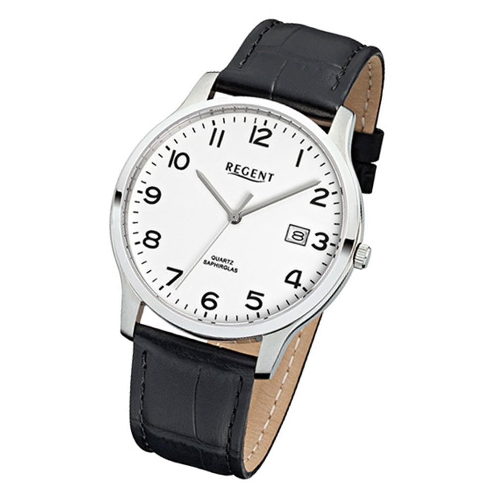 Regent Herren-Armbanduhr 32-F-1025 Quarz-Uhr Leder-Armband schwarz URF1025