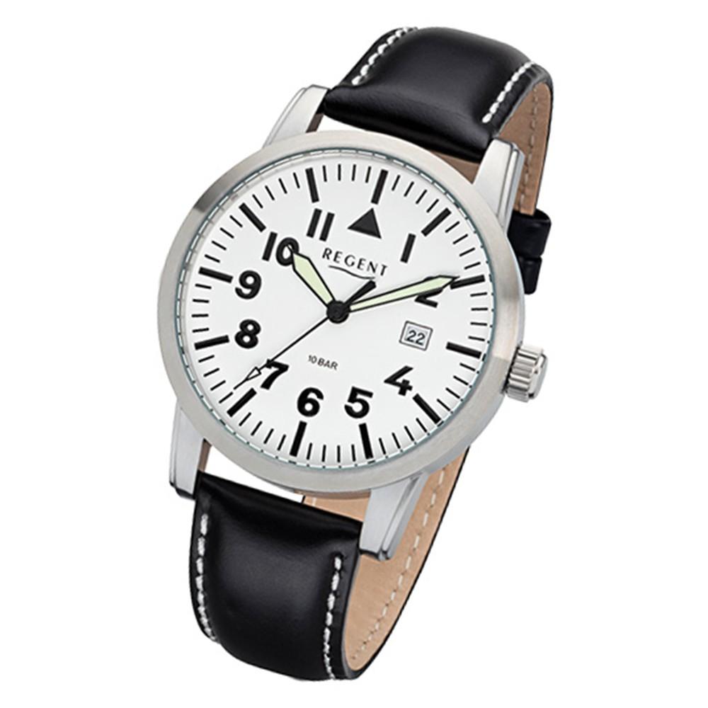 Regent Herren-Armbanduhr 32-F-1029 Quarz-Uhr Leder-Armband schwarz URF1029