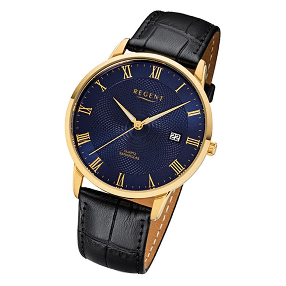 Regent Herren-Armbanduhr 32-F-1032 Quarz-Uhr Leder-Armband schwarz URF1032