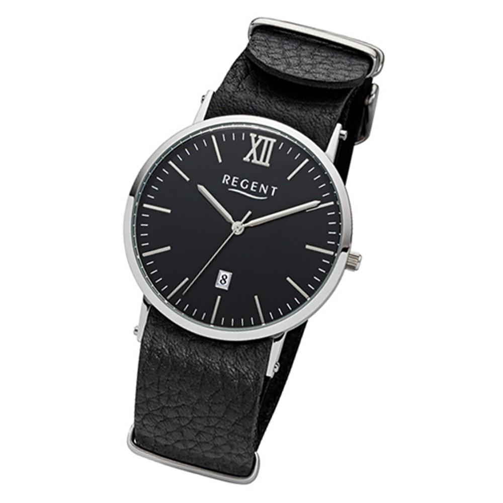 Regent Herren-Armbanduhr 32-F-1035 Quarz-Uhr Leder-Armband schwarz URF1035