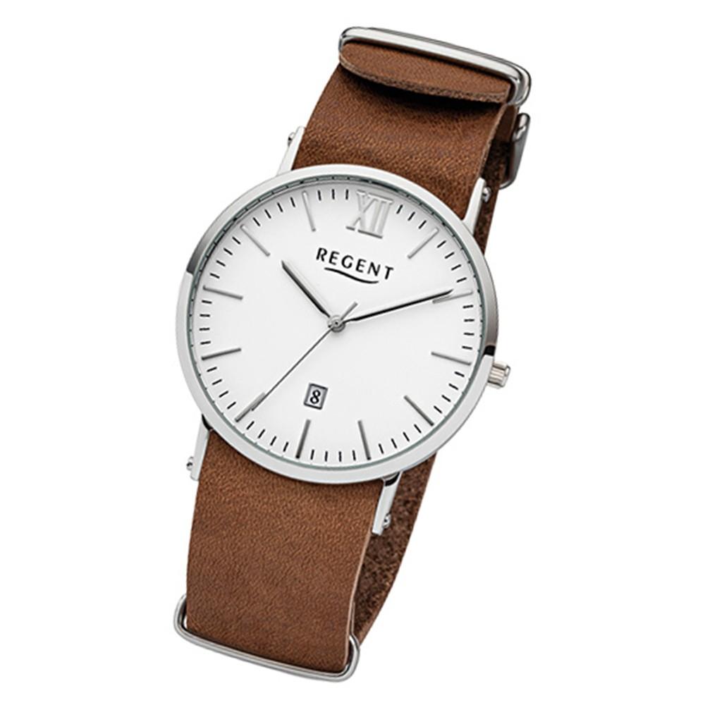 Regent Herren-Armbanduhr 32-F-1036 Quarz-Uhr Leder-Armband braun URF1036