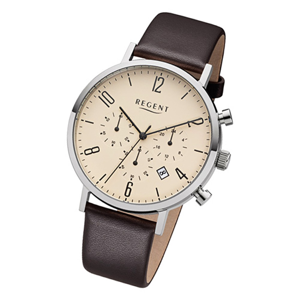Regent Herren-Armbanduhr 32-F-1037 Quarz-Uhr Leder-Armband dunkelbraun URF1037