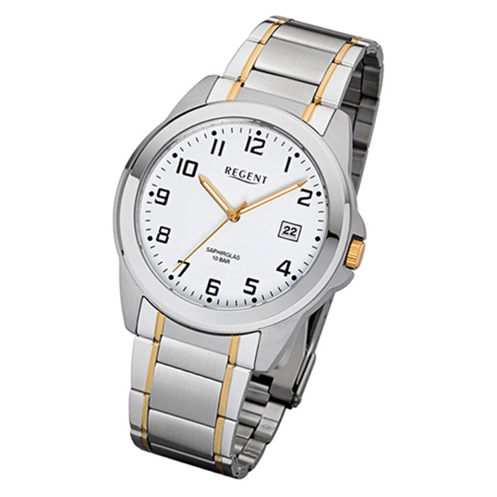 Regent Herren-Armbanduhr 32-F-1041 Quarz-Uhr Edelstahl-Armband silber gold URF1041