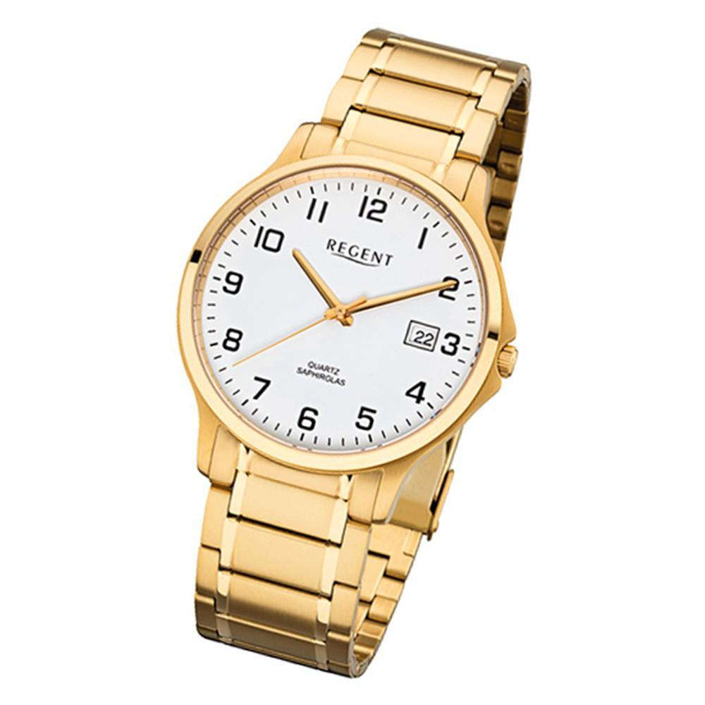Regent Herren-Armbanduhr 32-F-1043 Quarz-Uhr Edelstahl-Armband gold URF1043