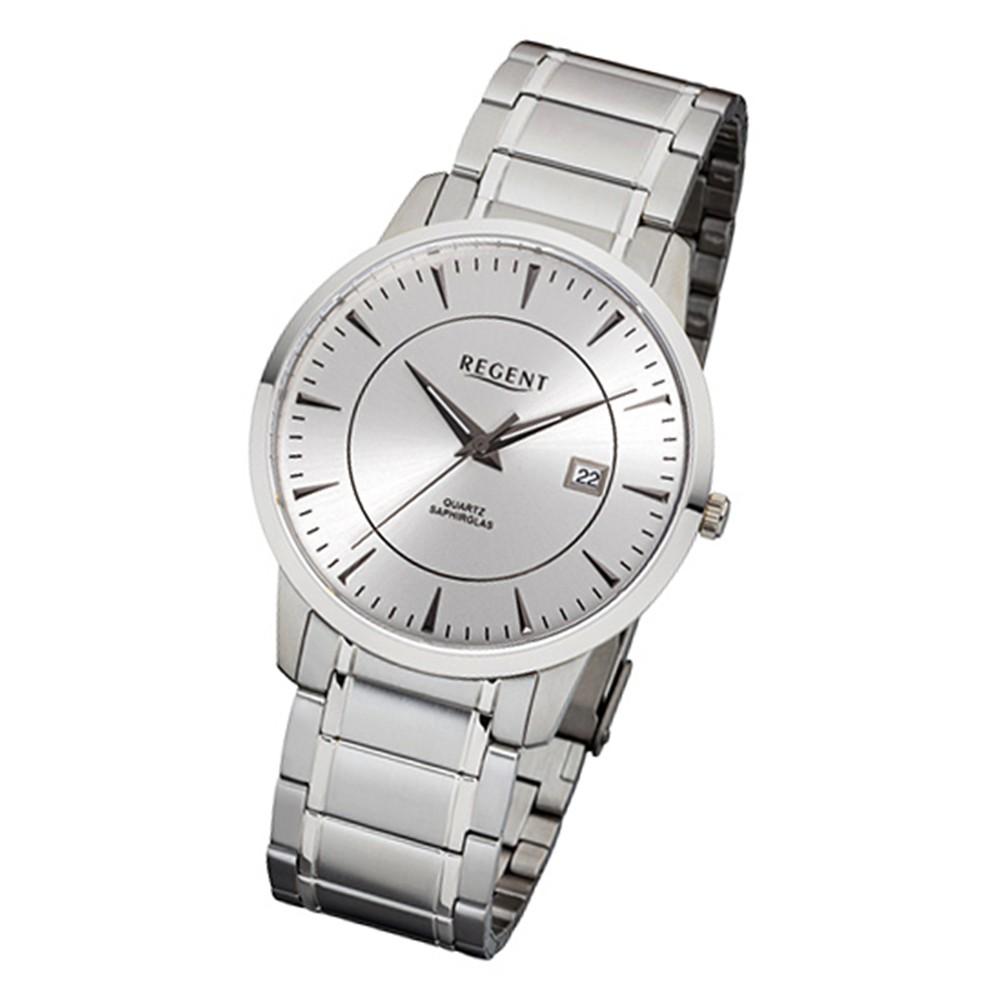 Regent Herren-Armbanduhr 32-F-1045 Quarz-Uhr Edelstahl-Armband silber URF1045