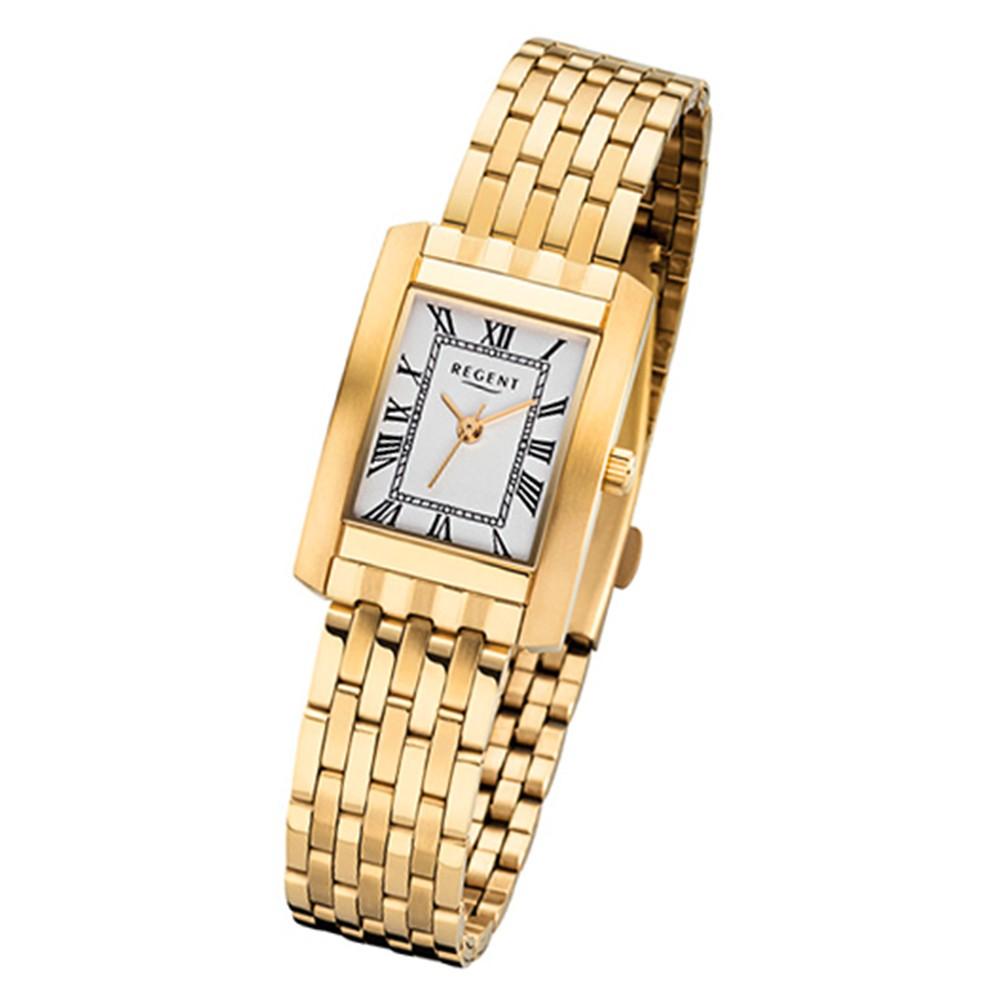 Regent Damen-Armbanduhr 32-F-1051 Quarz-Uhr Edelstahl-Armband gold URF1051