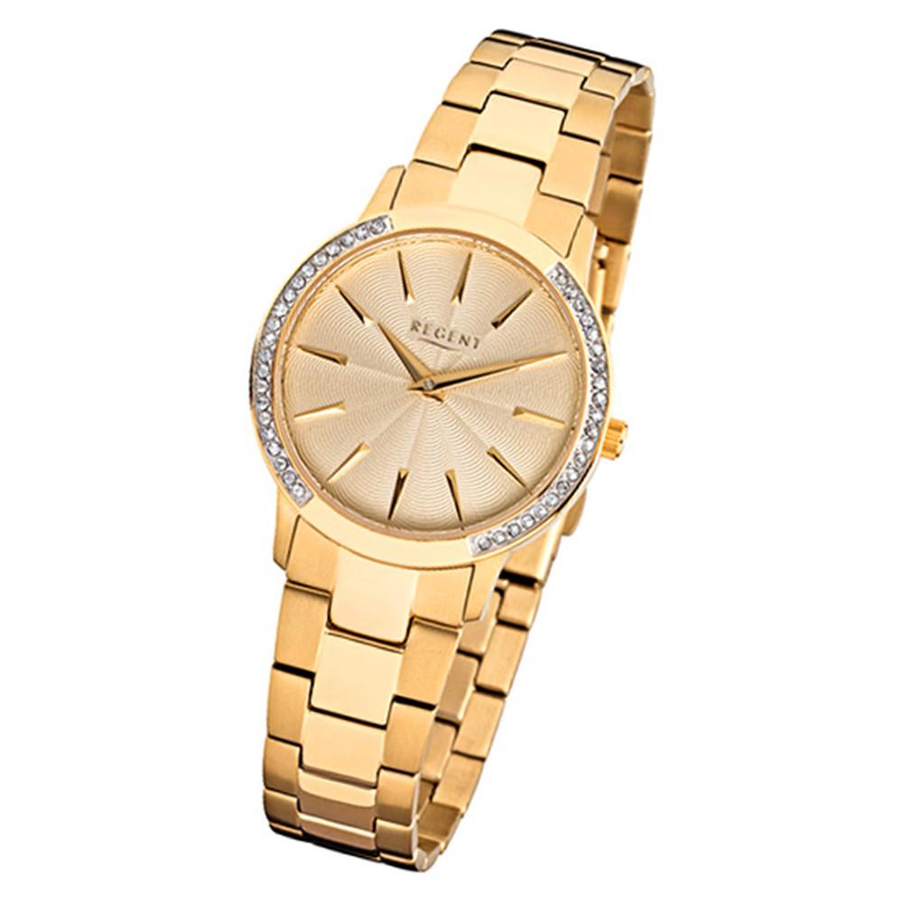 Regent Damen-Armbanduhr 32-F-1055 Quarz-Uhr Edelstahl-Armband gold URF1055