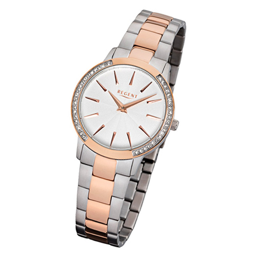 Regent Damen-Armbanduhr 32-F-1056 Quarz-Uhr Edelstahl-Armband silber rosegold UR URF1056