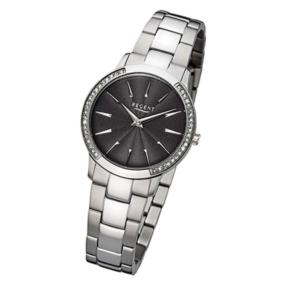 Regent Damen-Armbanduhr 32-F-1057 Quarz-Uhr Edelstahl-Armband silber URF1057