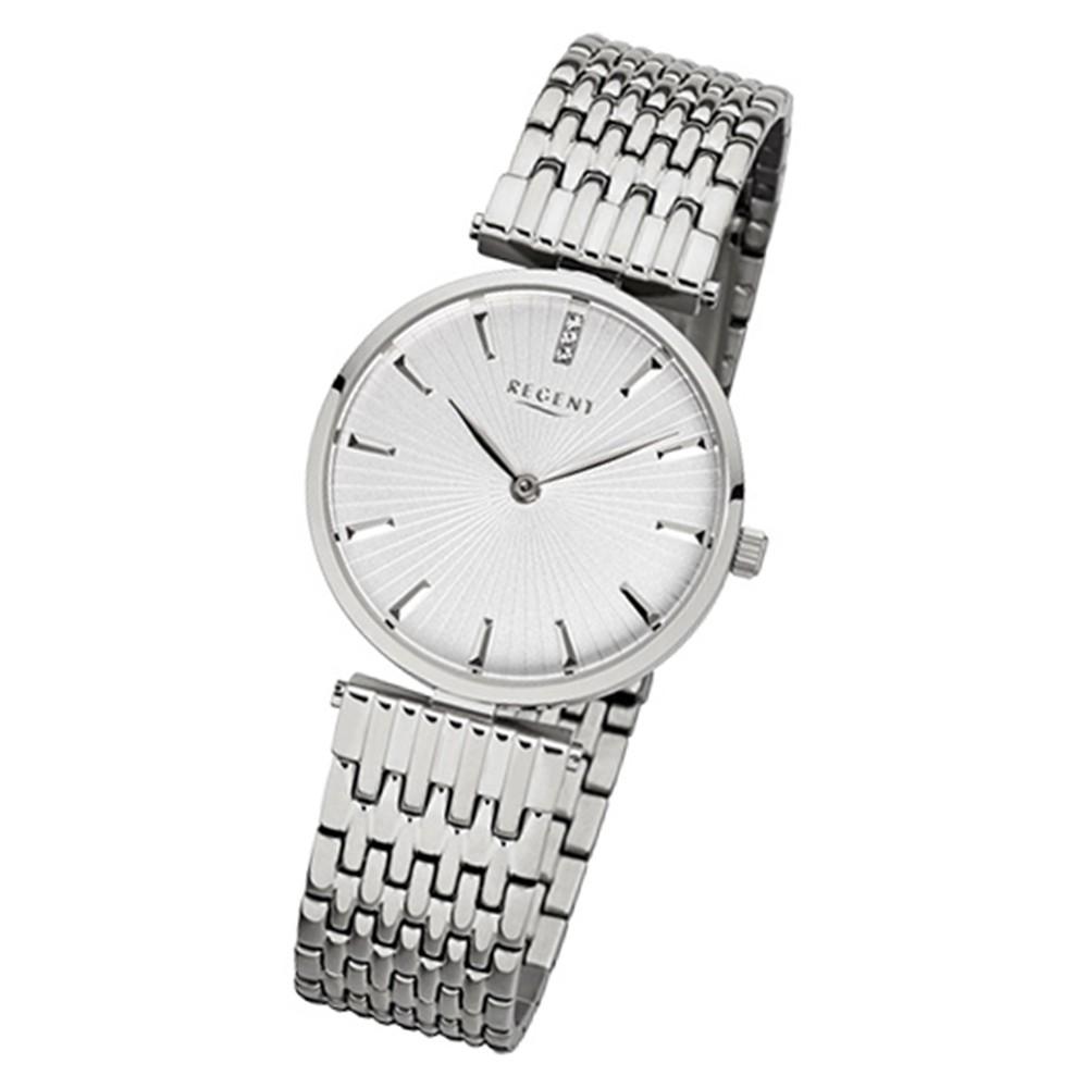 Regent Damen-Armbanduhr 32-F-1058 Quarz-Uhr Edelstahl-Armband silber URF1058