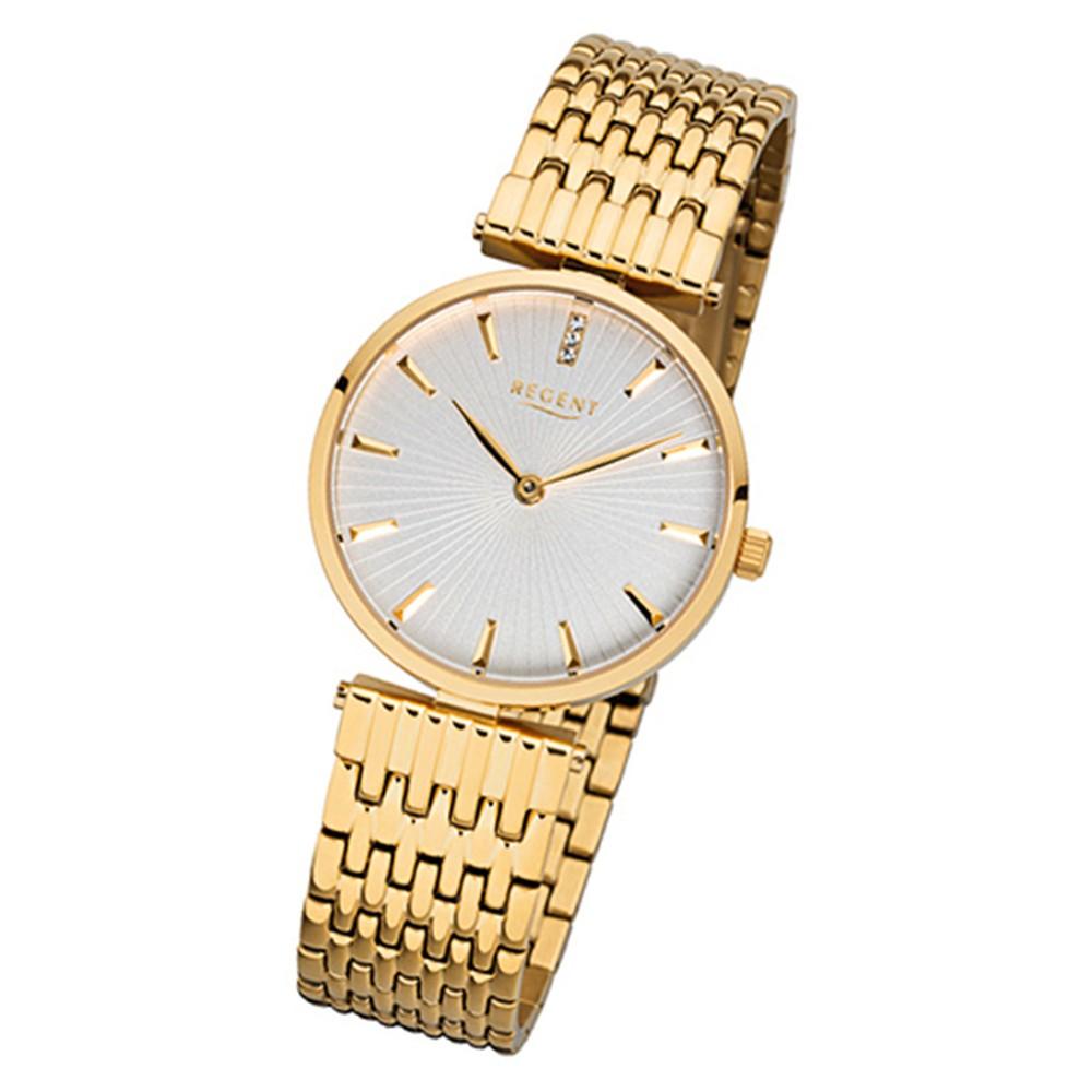 Regent Damen-Armbanduhr 32-F-1060 Quarz-Uhr Edelstahl-Armband gold URF1060