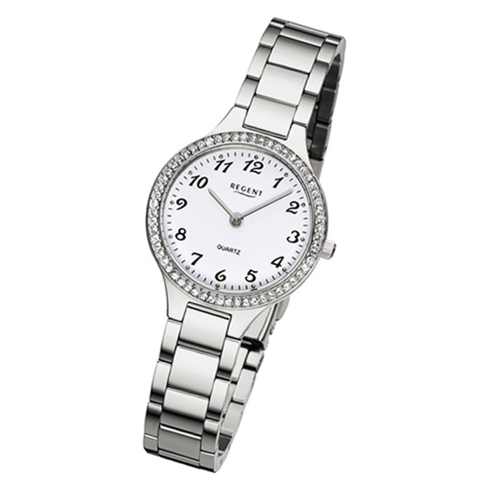 Regent Damen-Armbanduhr 32-F-1061 Quarz-Uhr Edelstahl-Armband silber URF1061