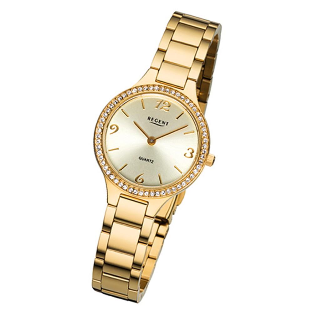 Regent Damen-Armbanduhr 32-F-1063 Quarz-Uhr Edelstahl-Armband gold URF1063