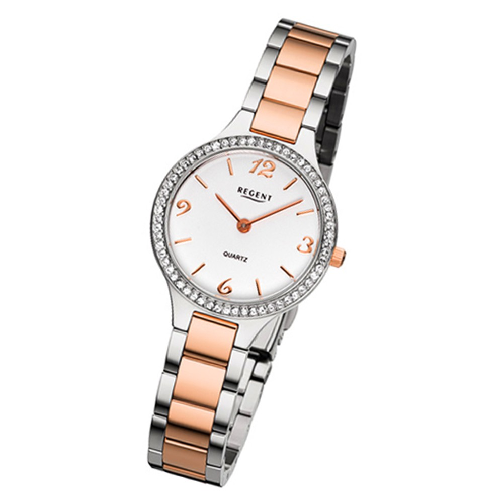 Regent Damen-Armbanduhr 32-F-1064 Quarz-Uhr Edelstahl-Armband silber rosegold URF1064