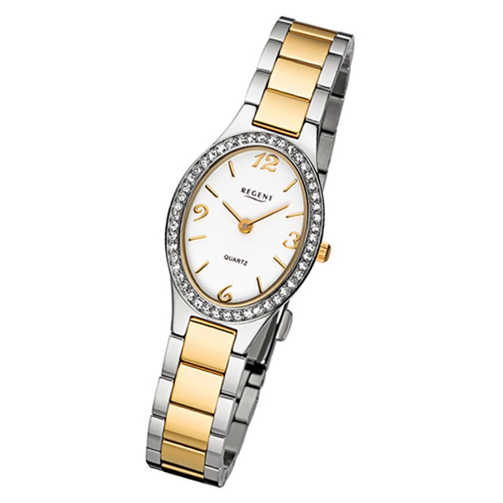 Regent Damen-Armbanduhr 32-F-1066 Quarz-Uhr Edelstahl-Armband silber gold URF1066