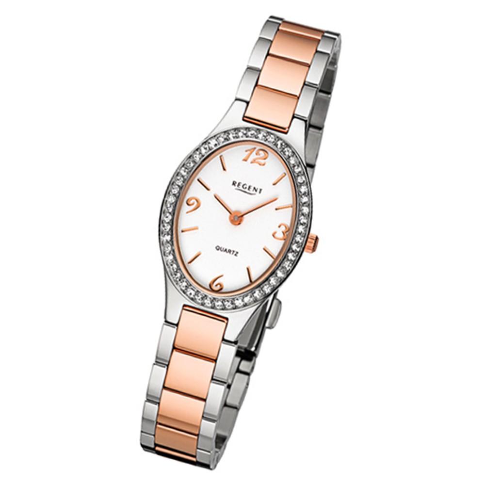 Regent Damen-Armbanduhr 32-F-1068 Quarz-Uhr Edelstahl-Armband silber rosegold UR URF1068