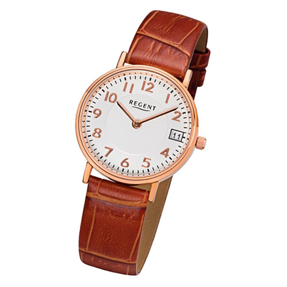 Regent Damen-Armbanduhr 32-F-1070 Quarz-Uhr Leder-Armband braun URF1070
