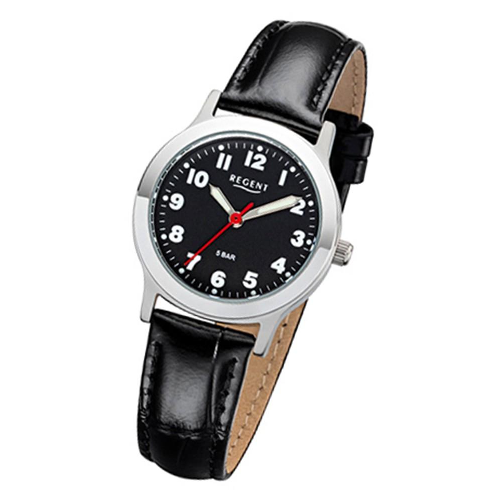 Regent Damen, Herren-Armbanduhr 32-F-1071 Quarz-Uhr Leder-Armband schwarz URF1071