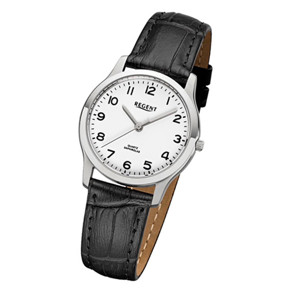 Regent Damen-Armbanduhr 32-F-1073 Quarz-Uhr Leder-Armband schwarz URF1073