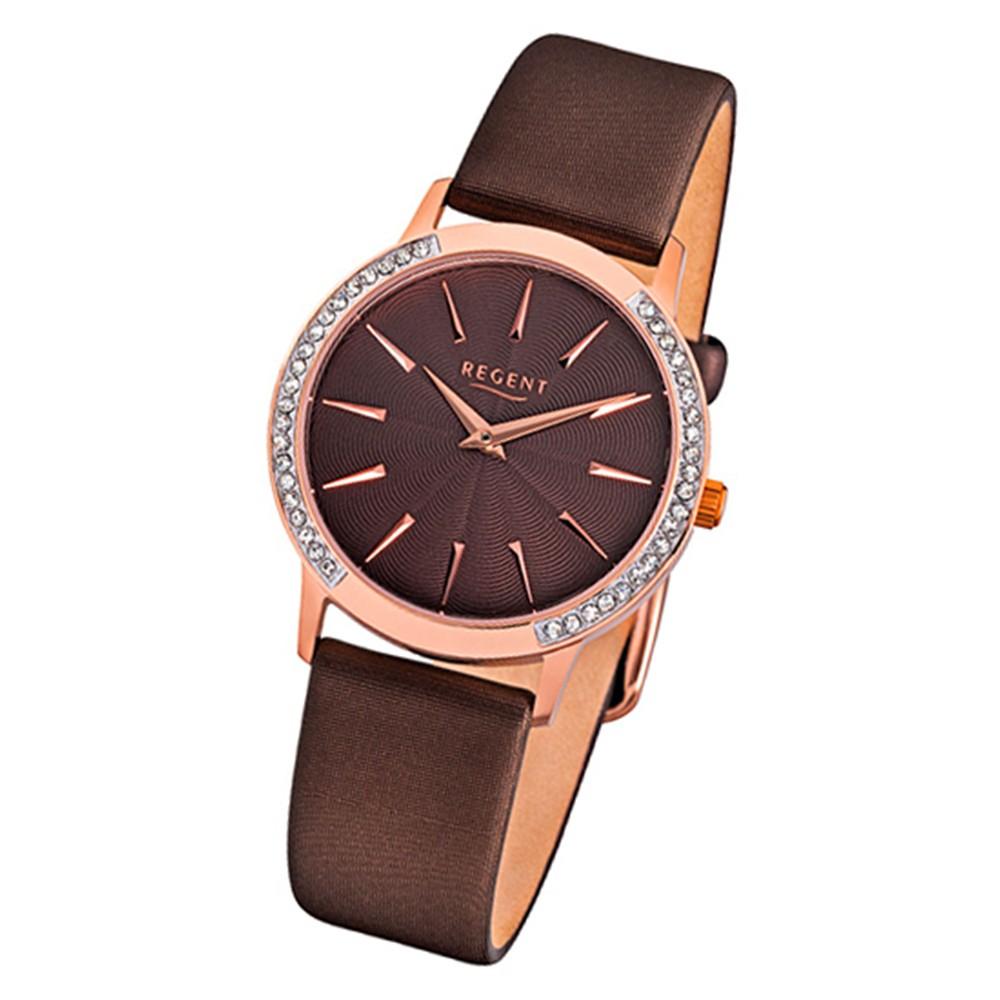 Regent Damen-Armbanduhr 32-F-1076 Quarz-Uhr Leder-Armband braun URF1076