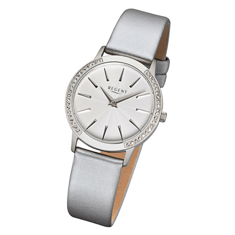 Regent Damen-Armbanduhr 32-F-1077 Quarz-Uhr Leder-Armband silber URF1077
