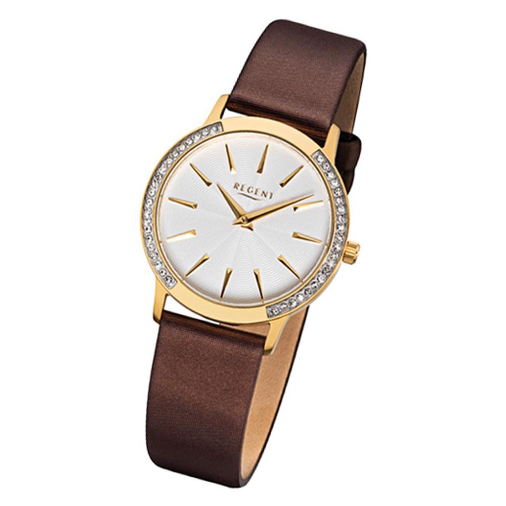 Regent Damen-Armbanduhr 32-F-1078 Quarz-Uhr Leder-Armband braun URF1078