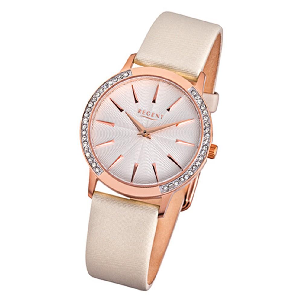 Regent Damen-Armbanduhr F-1079 Quarz-Uhr Leder-Armband beige URF1079