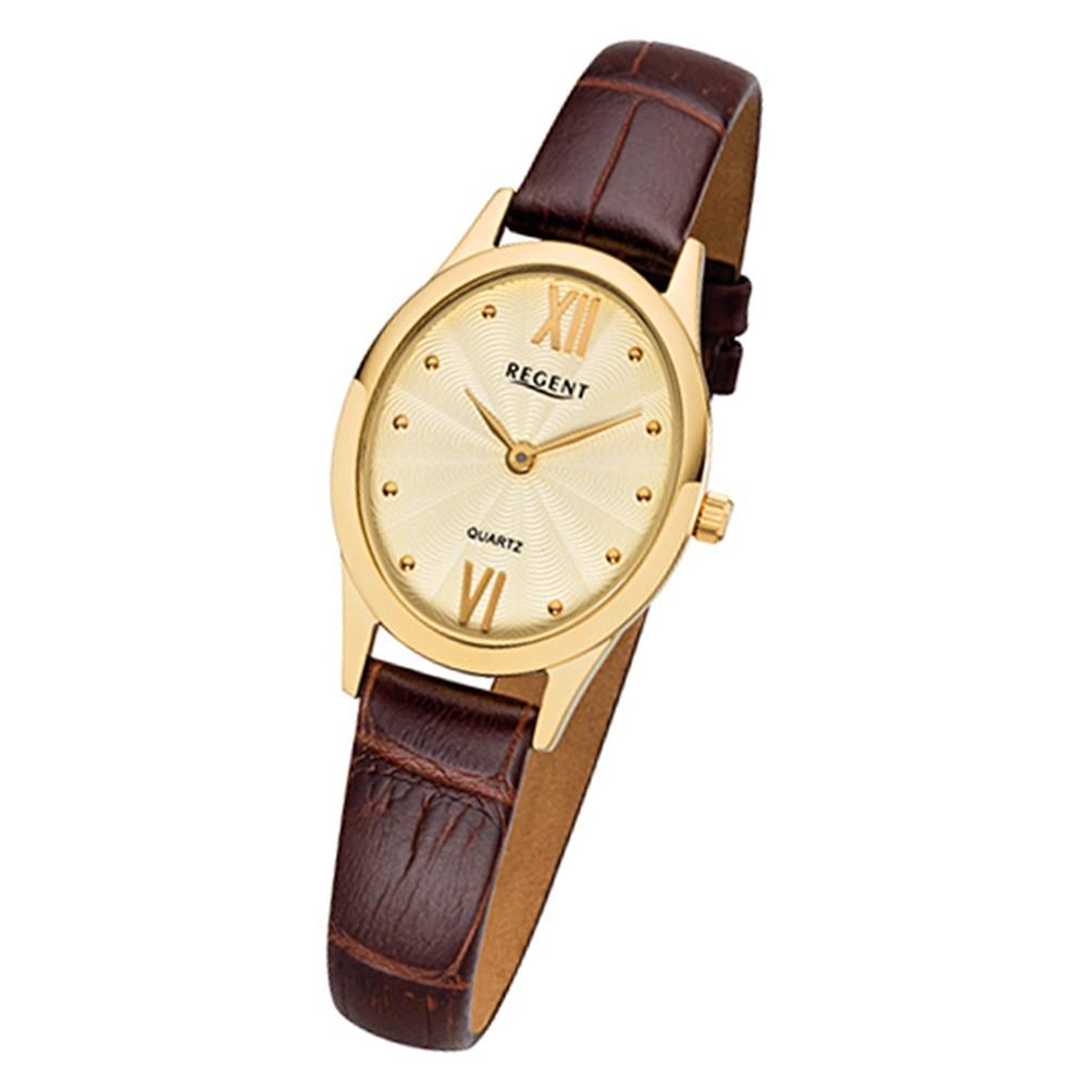 Regent Damen-Armbanduhr 32-F-1081 Quarz-Uhr Leder-Armband braun URF1081
