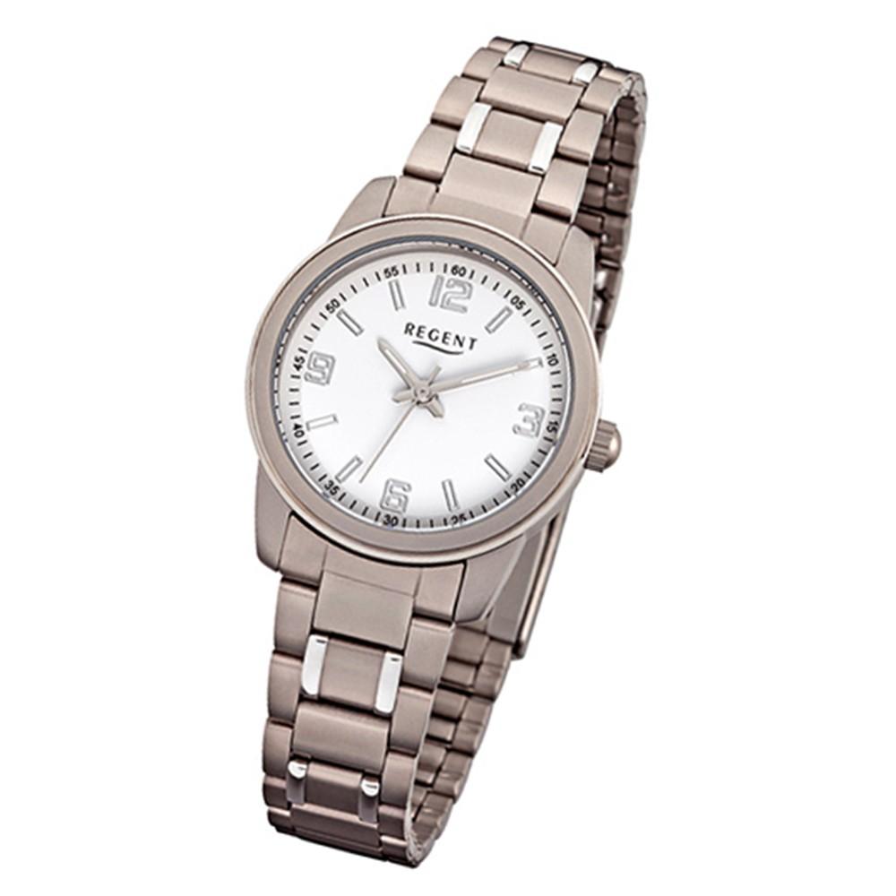 Regent Damen-Armbanduhr 32-F-1084 Quarz-Uhr Titan-Armband silber grau URF1084